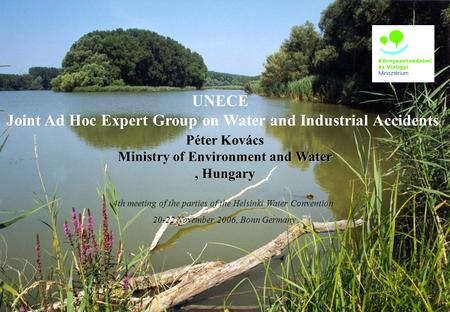 UNECE Joint Ad Hoc Expert Group on Water and Industrial Accidents Péter Kovács Ministry of Environment and Water, Hungary 4th meeting of the parties of.