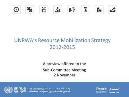 UNRWA's Resource Mobilization Strategy 2012-2015 A preview offered to the Sub-Committee Meeting 2 November.