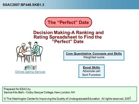 "1 The ""Perfect"" Date Prepared for SSAC by Semra Kilic-Bahi - Colby-Sawyer College, New London, NH © The Washington Center for Improving the Quality of."