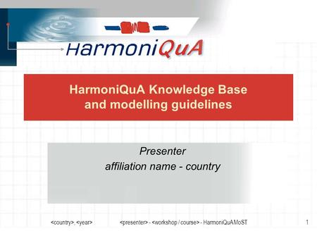, - - HarmoniQuA MoST1 HarmoniQuA Knowledge Base and modelling guidelines Presenter affiliation name - country.