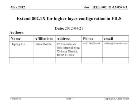 Doc.: IEEE 802. 11-12/0547r1 Submission May 2012 Dapeng Liu, China MobileSlide 1 Extend 802.1X for higher layer configuration in FILS Date: 2012-04-21.