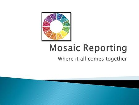 Where it all comes together.  The Adaptive Mosaic Reporting Technology begins with the concept of a Mosaic.  A Mosaic Report is constructed by assembling.