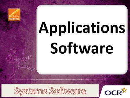 Applications Software. Applications software is software that is capable of doing a specific job A job is called an application Examples include word.