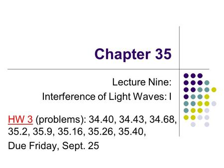 Lecture Nine: Interference of Light Waves: I
