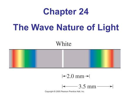 Chapter 24 The Wave Nature of Light. 24.1 Waves Versus Particles; Huygens' Principle and Diffraction Huygens' principle: Every point on a wave front acts.