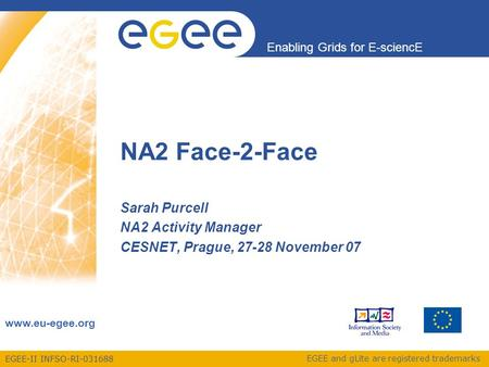 EGEE-II INFSO-RI-031688 Enabling Grids for E-sciencE www.eu-egee.org EGEE and gLite are registered trademarks NA2 Face-2-Face Sarah Purcell NA2 Activity.