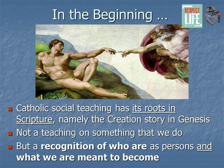 In the Beginning … Catholic social teaching has its roots in Scripture, namely the Creation story in Genesis Catholic social teaching has its roots in.