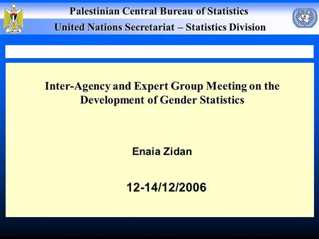Palestinian Central Bureau of Statistics United Nations Secretariat – Statistics Division Inter-Agency and Expert Group Meeting on the Development of.