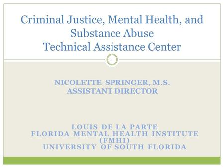 Criminal Justice, Mental Health, and Substance Abuse Technical Assistance Center.