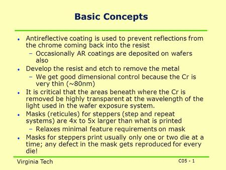 C05 - 1 Virginia Tech Basic Concepts Antireflective coating is used to prevent reflections from the chrome coming back into the resist –Occasionally AR.