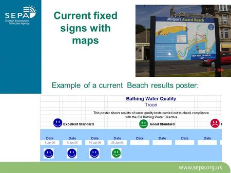 Current fixed signs with maps Example of a current Beach results poster: