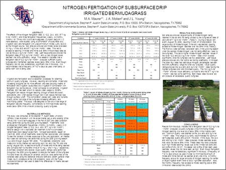 NITROGEN FERTIGATION OF SUBSURFACE DRIP IRRIGATED BERMUDAGRASS M.A. Maurer* 1, J.A. Moken 2 and J.L. Young 1 1 Department of Agriculture, Stephen F. Austin.