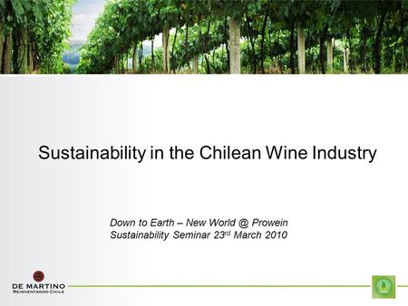 Sustainability in the Chilean Wine Industry Down to Earth – New Prowein Sustainability Seminar 23 rd March 2010.