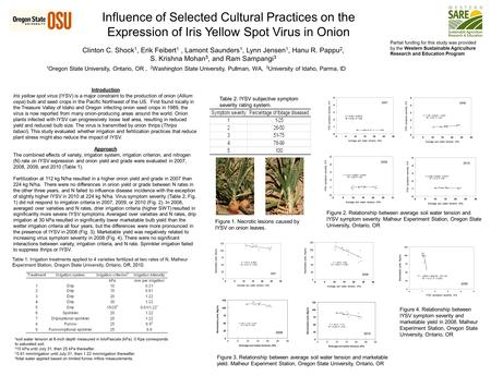 Influence of Selected Cultural Practices on the Expression of Iris Yellow Spot Virus in Onion Clinton C. Shock 1, Erik Feibert 1, Lamont Saunders 1, Lynn.