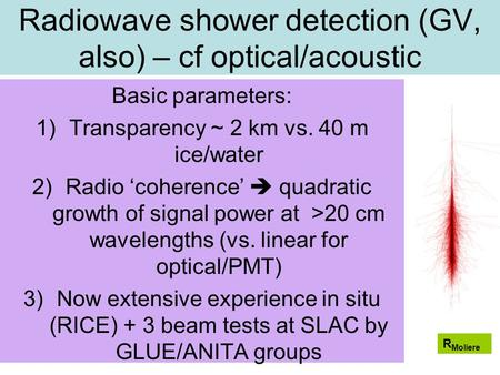 Radiowave shower detection (GV, also) – cf optical/acoustic Basic parameters: 1)Transparency ~ 2 km vs. 40 m ice/water 2)Radio 'coherence'  quadratic.