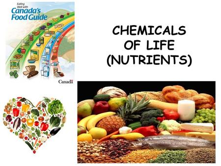 CHEMICALS OF LIFE (NUTRIENTS). . NUTRIENTS: needed by all organisms for 1. __________ and 2. ______________ energy building blocks ORGANIC VS. INORGANIC.