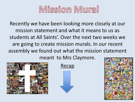 Recently we have been looking more closely at our mission statement and what it means to us as students at All Saints'. Over the next two weeks we are.