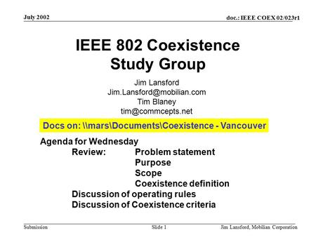 Doc.: IEEE COEX 02/023r1 Submission July 2002 Jim Lansford, Mobilian CorporationSlide 1 IEEE 802 Coexistence Study Group Agenda for Wednesday Review:Problem.