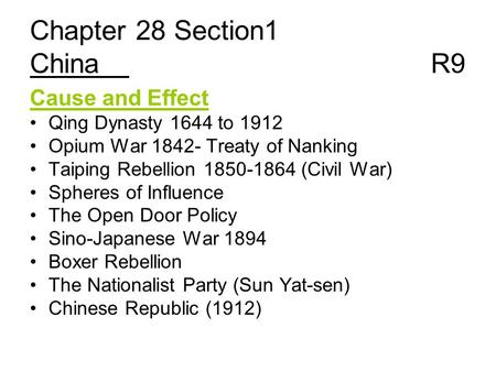 Chapter 28 Section1 China R9