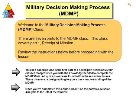 Welcome to the Military Decision Making Process (MDMP) Class. There are seven parts to the MDMP class. This class covers part 1, Receipt of Mission. Review.