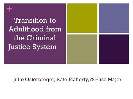 + Transition to Adulthood from the Criminal Justice System Julie Osterberger, Kate Flaherty, & Elisa Major.