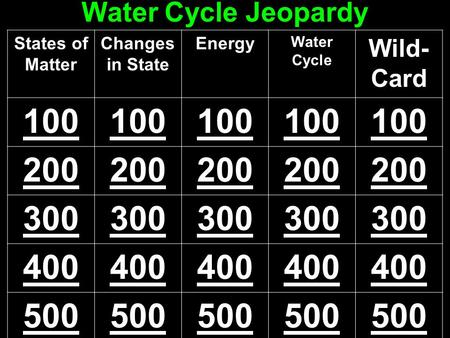 Water Cycle Jeopardy States of Matter Changes in State Energy Water Cycle Wild- Card 100 200 300 400 500.