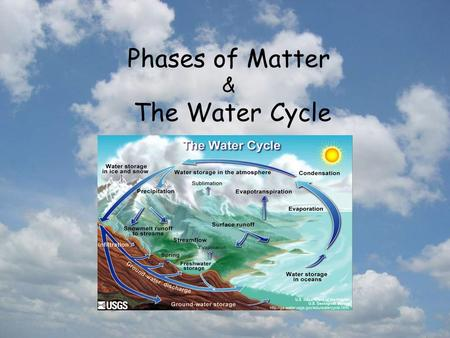 Phases of Matter & The Water Cycle. Phase The physical condition of an object based on its shape and structure.  state.