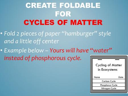 "Fold 2 pieces of paper ""hamburger"" style and a little off center Example below – Yours will have ""water"" instead of phosphorous cycle. CREATE FOLDABLE."