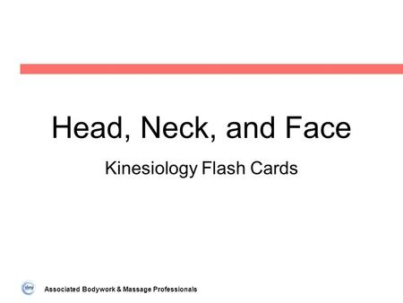 Associated Bodywork & Massage Professionals Head, Neck, and Face Kinesiology Flash Cards.
