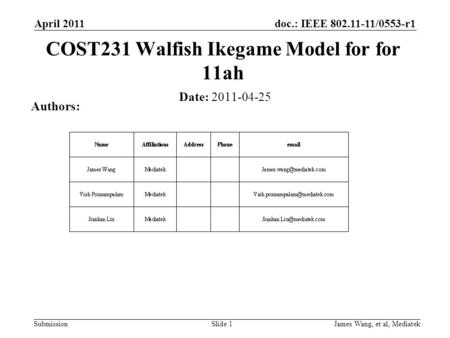 Doc.: IEEE 802.11-11/0553-r1 Submission April 2011 James Wang, et al, Mediatek COST231 Walfish Ikegame Model for for 11ah Date: 2011-04-25 Authors: Slide.