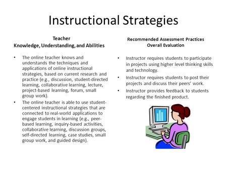 Instructional Strategies Teacher Knowledge, Understanding, and Abilities The online teacher knows and understands the techniques and applications of online.