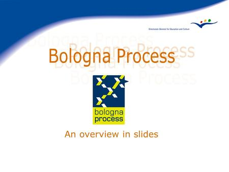 An overview in slides. A: the intergovernmental process Step 1: Sorbonne Declaration 1998 Step 2: Bologna Declaration 1999 Step 3: Prague Communiqué 2001.