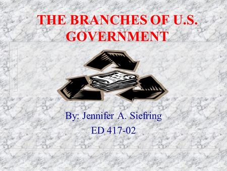 THE BRANCHES OF U.S. GOVERNMENT By: Jennifer A. Siefring ED 417-02.