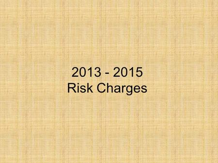 2013 - 2015 Risk Charges. Risk Management Services Claims Management Investigation Claim payments Mediation Litigation Risk Control Consultations Risk.