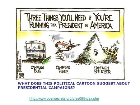 WHAT DOES THIS POLITICAL CARTOON SUGGEST ABOUT PRESIDENTIAL CAMPAIGNS?