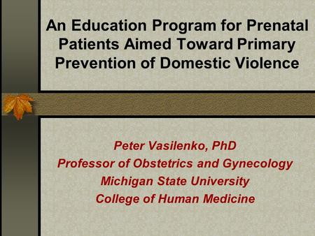 An Education Program for Prenatal Patients Aimed Toward Primary Prevention of Domestic Violence Peter Vasilenko, PhD Professor of Obstetrics and Gynecology.