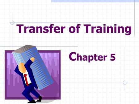 Transfer of Training C hapter 5. Review Analyzed the needs Designed/developed training Implemented the training Must be used on the job.