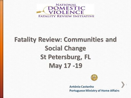 António Castanho Portuguese Ministry of Home Affairs Fatality Review: Communities and Social Change St Petersburg, FL May 17 -19 1.