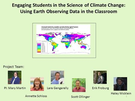 1 Engaging Students in the Science of Climate Change: Using Earth Observing Data in the Classroom Project Team: PI: Mary MartinErik Froburg Scott Ollinger.