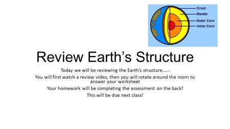 Review Earth's Structure Today we will be reviewing the Earth's structure…… You will first watch a review video, then you will rotate around the room to.