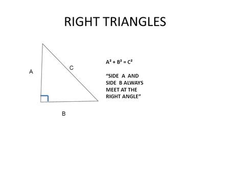 RIGHT TRIANGLES A² + B² = C² C