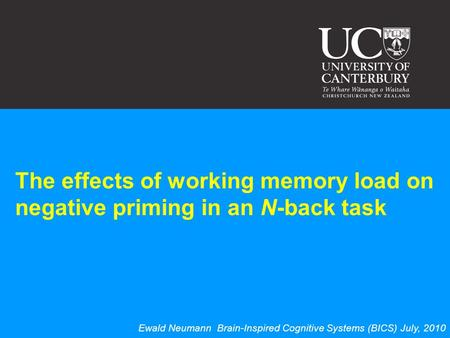 The effects of working memory load on negative priming in an N-back task Ewald Neumann Brain-Inspired Cognitive Systems (BICS) July, 2010.