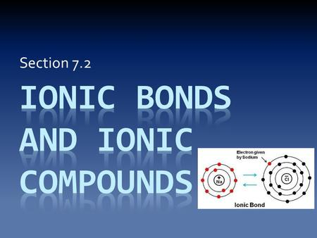 Section 7.2. Forming Ionic Compounds Since ions have charges, ions with opposite charges will be attracted to each other. The force that pulls them together.