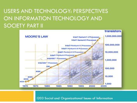 USERS AND TECHNOLOGY: PERSPECTIVES ON INFORMATION TECHNOLOGY AND SOCIETY PART II I203 Social and Organizational Issues of Information.