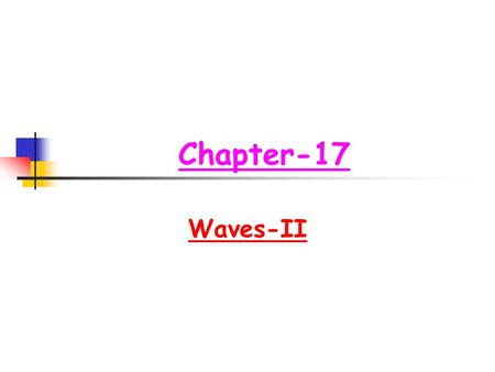 Chapter-17 Waves-II. Chapter-17 Waves-II Topics to be studied  Speed of sound waves  Relation between displacement and pressure amplitude  Interference.