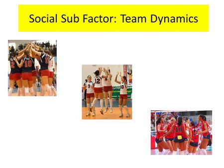 "Social Sub Factor: Team Dynamics. Team Dynamics: Definition ""Is the interaction of performers within a team or group. It is mainly to do with making the."