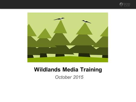 Wildlands Media Training October 2015. Strategic communications : Communicating the best message, through the right channels, measured against well-considered.
