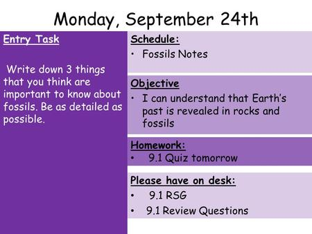 Monday, September 24th Entry Task Write down 3 things that you think are important to know about fossils. Be as detailed as possible. Schedule: Fossils.