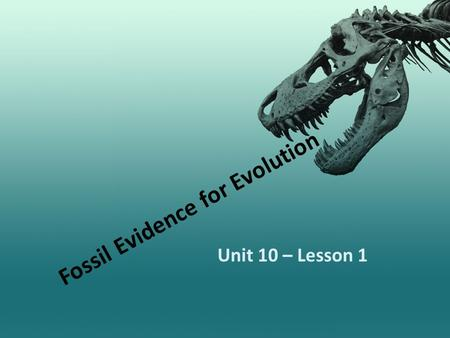 Fossil Evidence for Evolution Unit 10 – Lesson 1.