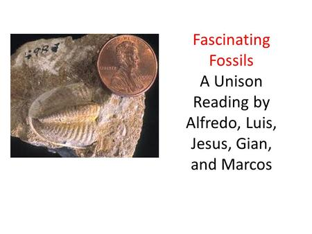 Fascinating Fossils A Unison Reading by Alfredo, Luis, Jesus, Gian, and Marcos.